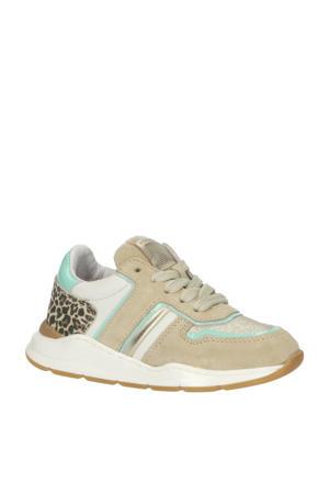 P1769  leren sneakers met panterprint beige/multi