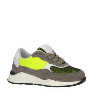P1770  leren sneakers grijs/multi