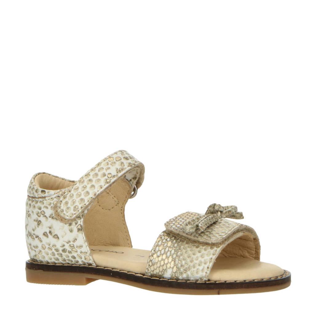 Pinocchio P1745  leren sandalen met slangenprint goud, Goud/beige