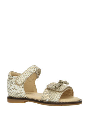 P1745  leren sandalen met slangenprint goud