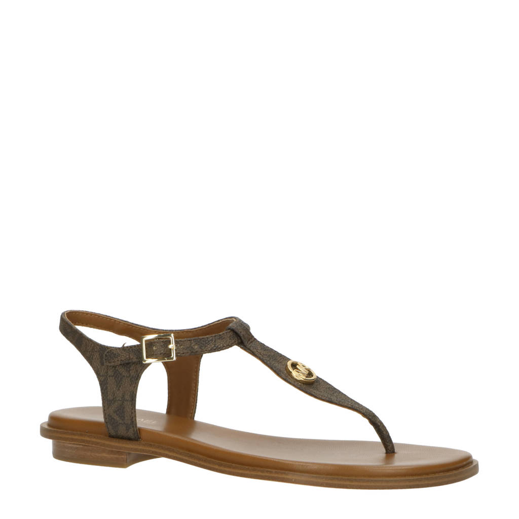 Michael Kors Mallory Thong  leren sandalen bruin, Bruin