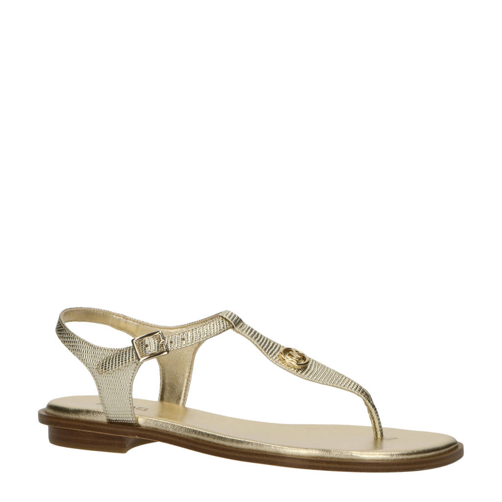 Michael Kors Mallory Thong  leren sandalen goud, Goud