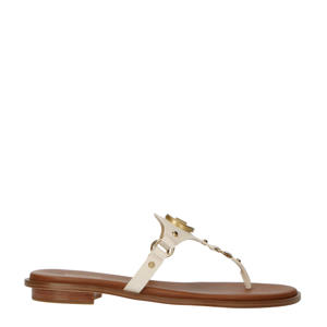 Conway Sandal  leren teenslippers off white