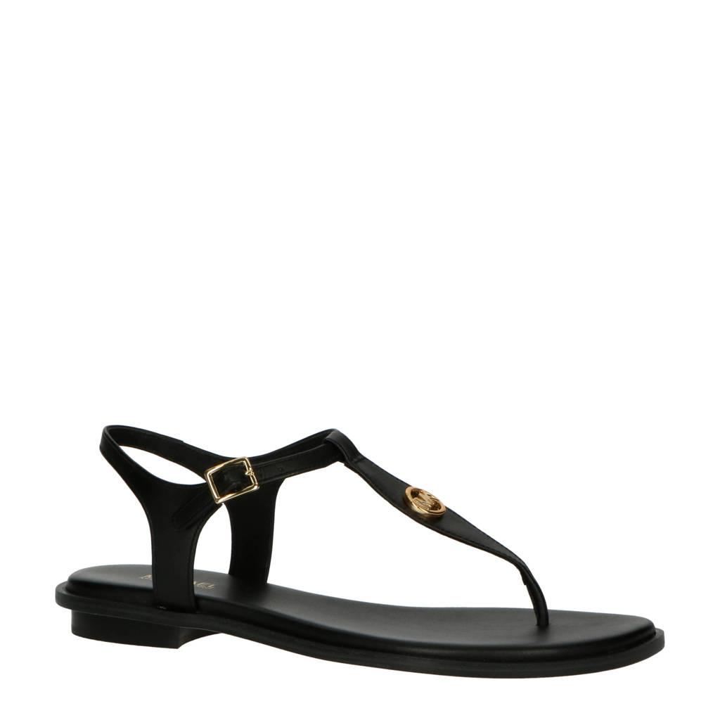 Michael Kors Mallory Thong  leren sandalen zwart, Zwart