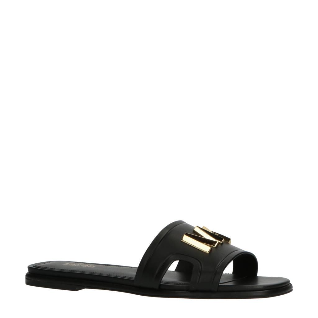 Michael Kors Kippy Slide  leren slippers zwart, Zwart/goud