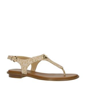 MK Plate Thong  leren sandalen camel/wit