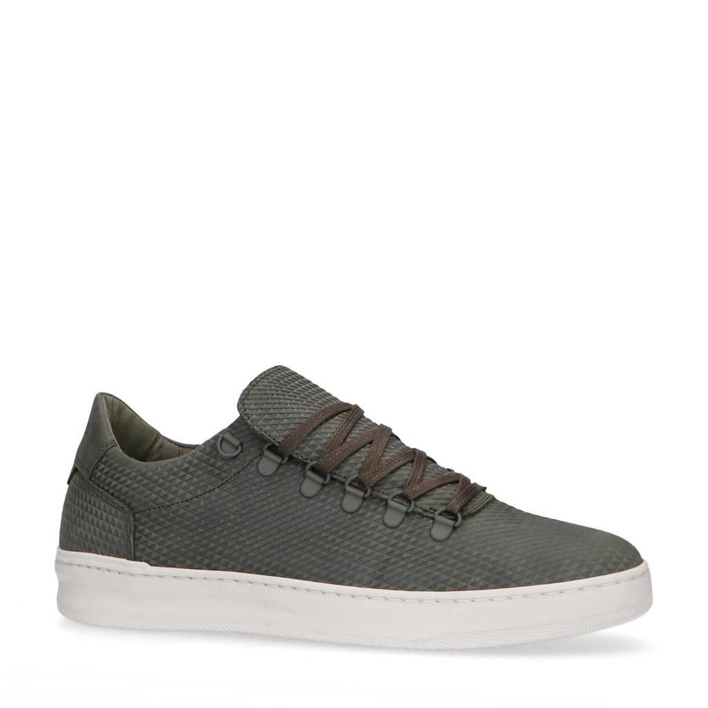 Manfield   nubuck sneakers kaki, Kaki/groen