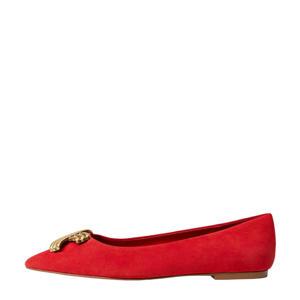 suède ballerina's rood