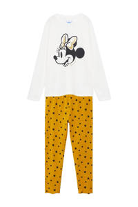 Mango Kids Minnie Mouse pyjama met printopdruk wit/okergeel, Wit/okergeel