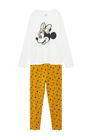 Minnie Mouse pyjama met printopdruk wit/okergeel