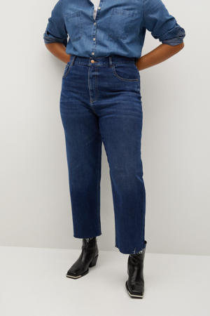 cropped high waist straight fit jeans blue denim