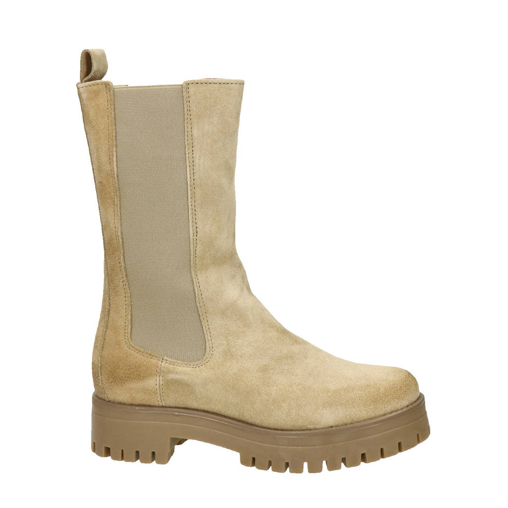 Nelson   hoge suède chelsea boots taupe, Taupe/beige