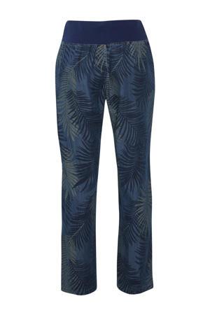 straight fit broek met all over print blauw