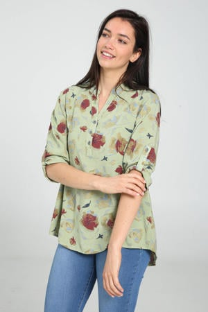 blouse met all over print kaki