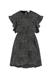 AI&KO jurk Brylee met all over print en ruches zwart/wit, Zwart/wit