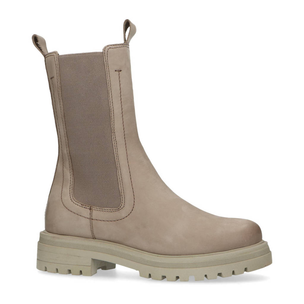 Manfield   hoge leren chelsea boots taupe, Taupe
