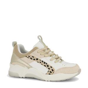 chunky sneakers met panterprint beige