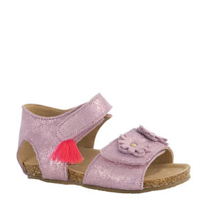 leren sandalen roze/metallic