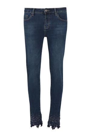 cropped skinny jeans met borduursels dark denim