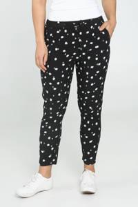 Cassis cropped loose fit broek met stippen zwart/wit, Zwart/wit