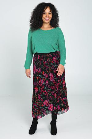 gebloemde semi-transparante rok zwart/roze/groen