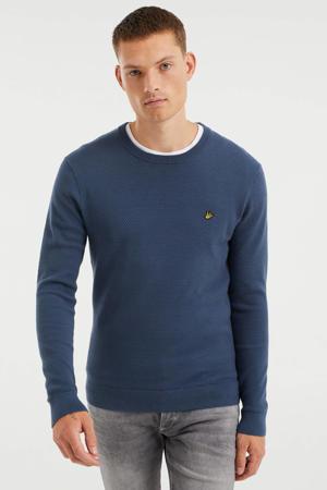 fijngebreide trui met textuur petrol grey