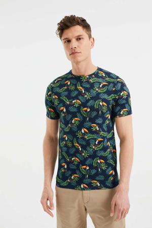 T-shirt met all over print Opal Blue