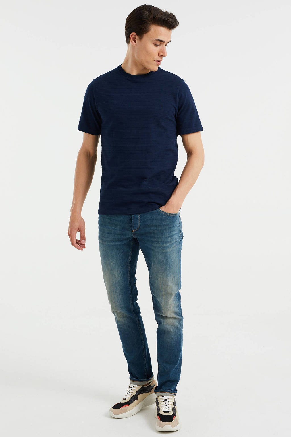 WE Fashion slim fit T-shirt met textuur Heavy Blue