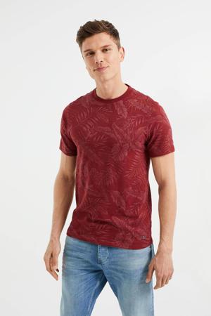 slim fit T-shirt met geweven print Dark Bloody Mary