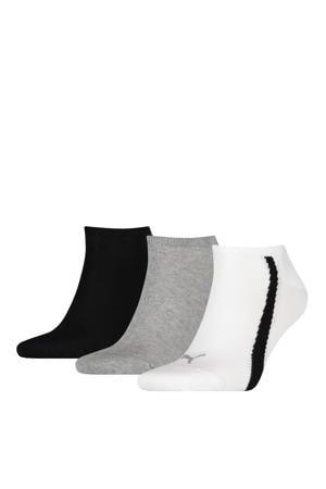 sportsokken - set van 3 wit/grijs/zwart