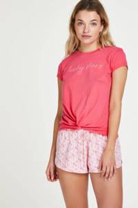 Hunkemöller pyjamashort met all over print roze/rood, Roze/rood