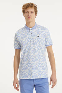 Twinlife regular fit polo met all over print lichtblauw/wit, Lichtblauw/wit