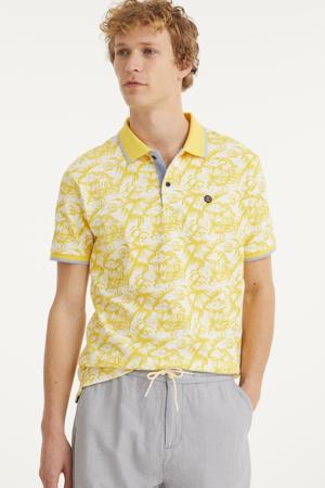 regular fit polo met contrastbies geel