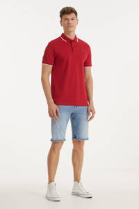 Twinlife regular fit polo met contrastbies roos, Roos