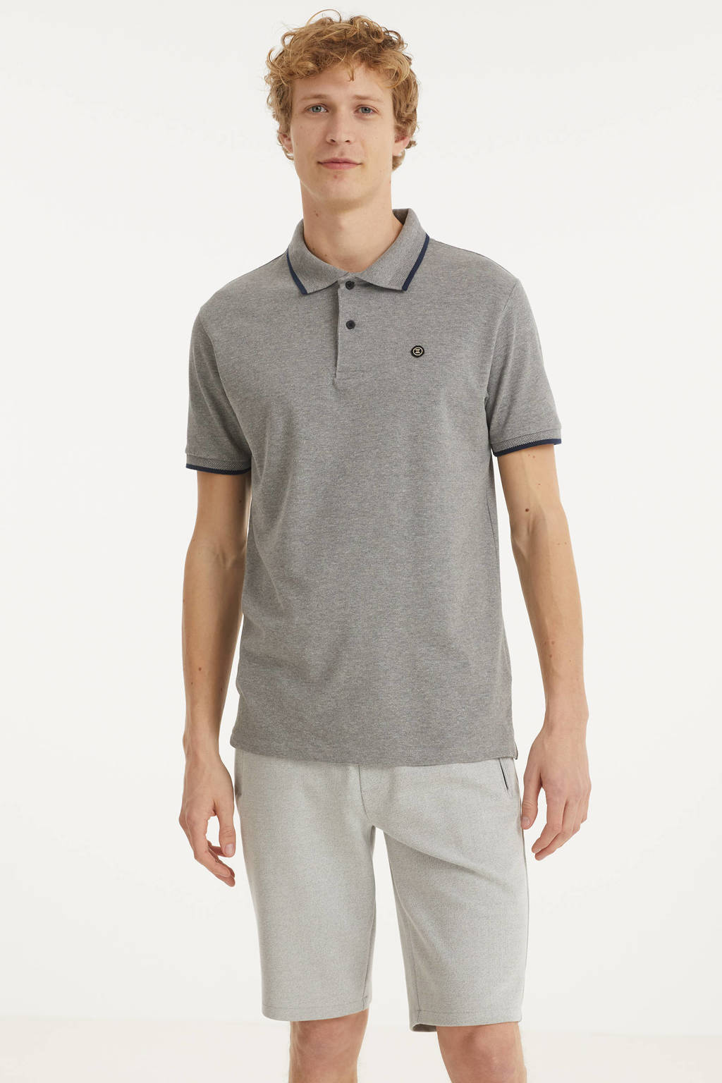 Twinlife regular fit polo grijs melange, Grijs melange