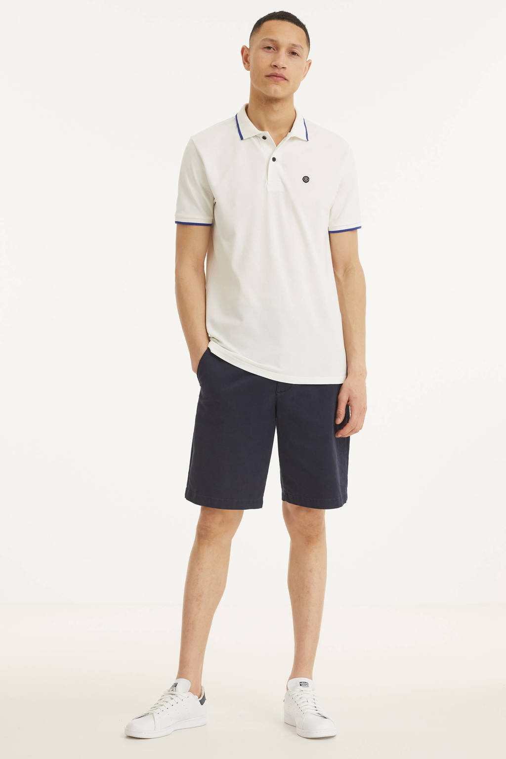 Twinlife regular fit polo met contrastbies wit, Wit