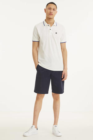 regular fit polo met contrastbies wit
