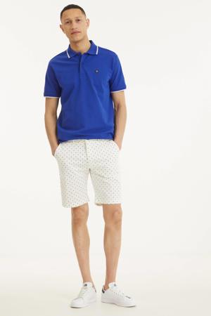 regular fit polo met contrastbies kobaltblauw