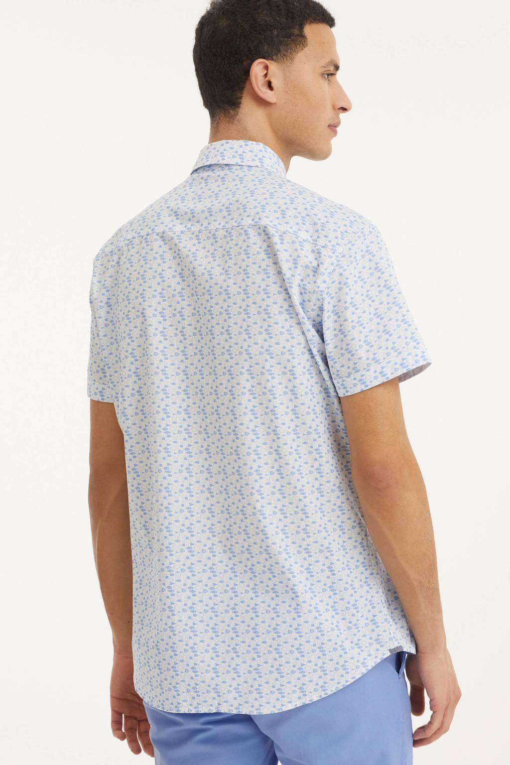Twinlife regular fit overhemd met all over print lichtblauw/wit, Lichtblauw/wit