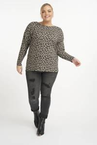 MS Mode fijngebreide top met panterprint lichtbruin/zwart, Lichtbruin/zwart