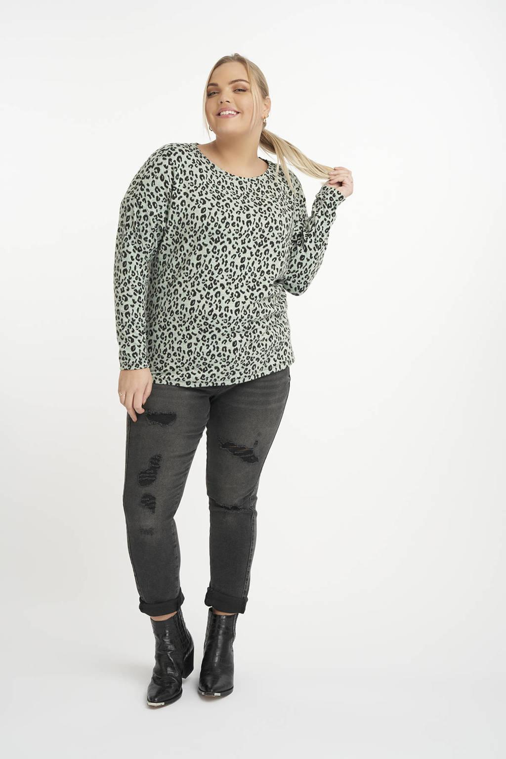 MS Mode fijngebreide top met panterprint mintgroen/zwart, Mintgroen/zwart