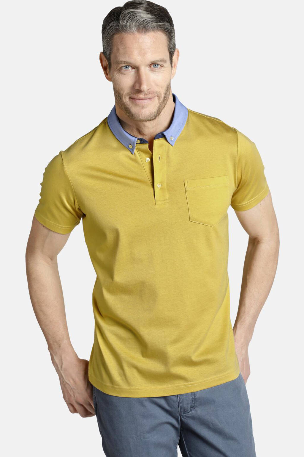 Charles Colby polo T-shirt ECTOR Plus Size geel, Geel