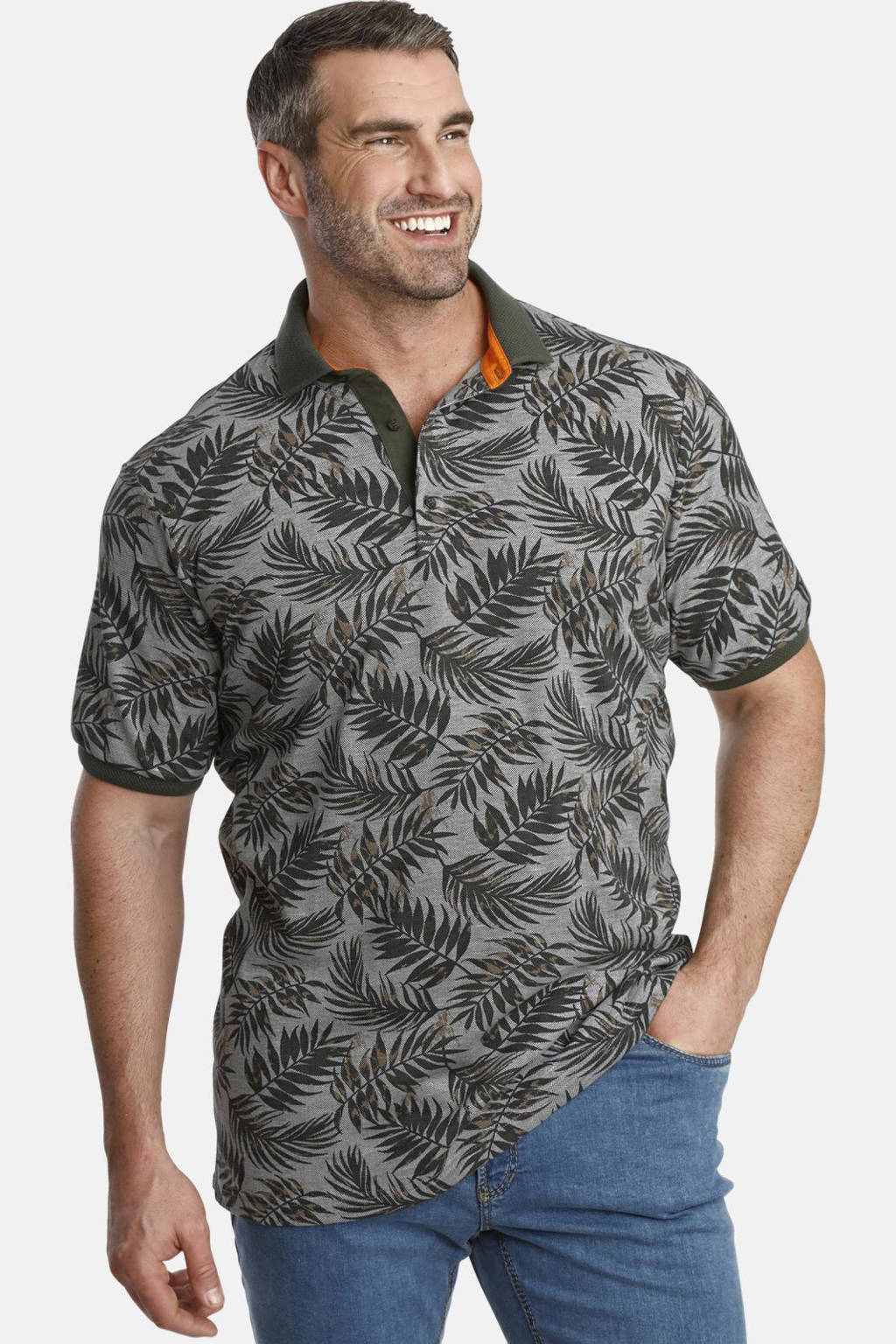 Charles Colby polo Earl Angus Plus Size grijs, Grijs