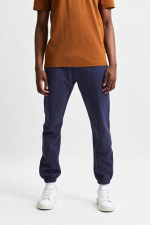 slim fit broek van biologisch katoen donkerblauw
