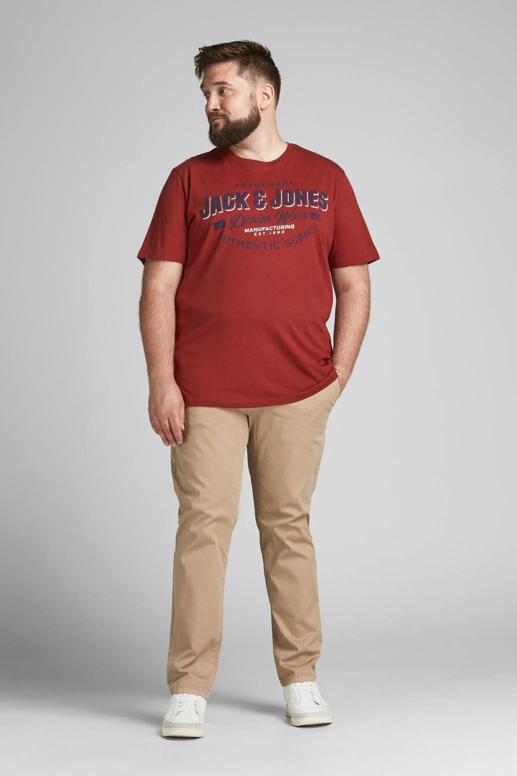 JACK & JONES PLUS SIZE regular fit T-shirt JJELOGO Plus Size met logo red dahlia, Red Dahlia