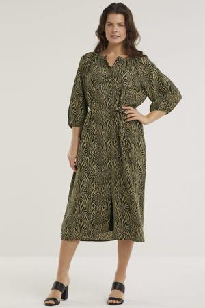 jurk met zebraprint okergeel