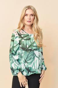 PONT NEUF top Alison met bladprint wit/groen/lichtroze, Wit/groen/lichtroze