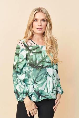 top Alison met bladprint wit/groen/lichtroze
