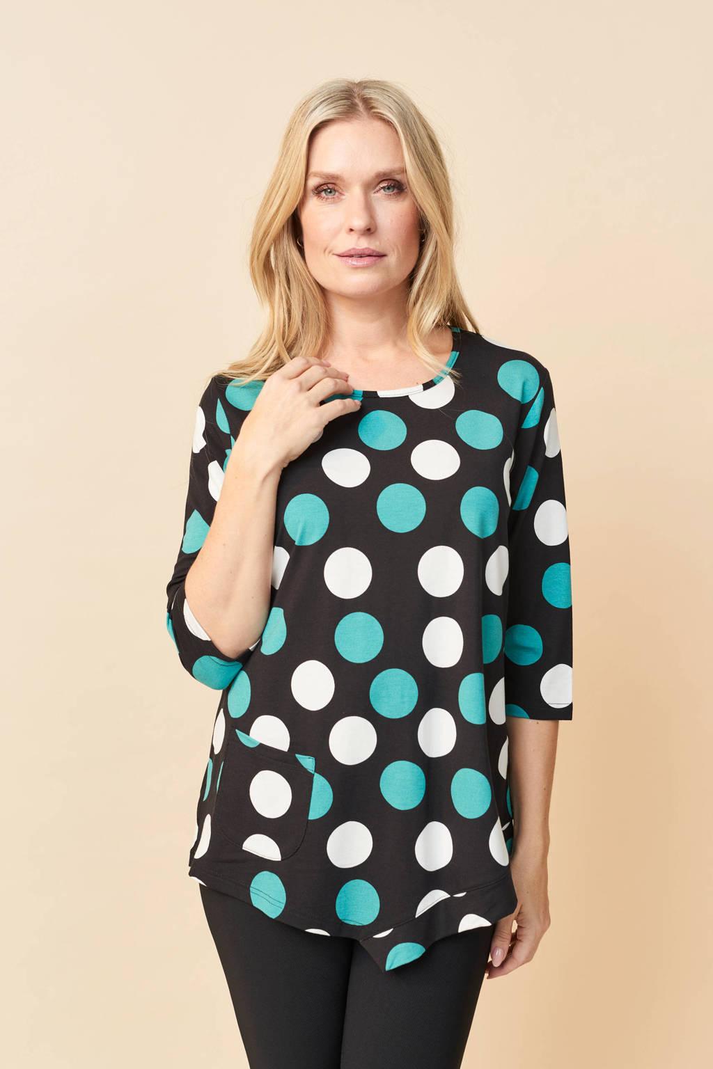 PONT NEUF top met stippen en open detail zwart/blauw/wit, Zwart/blauw/wit