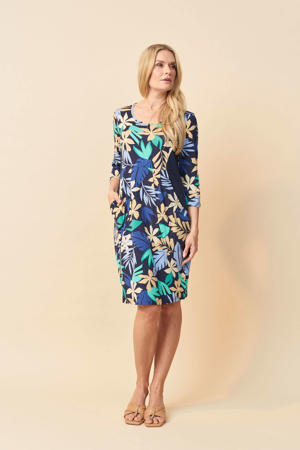 jurk Bianco met contrastbies donkerblauw/ecru/turquoise